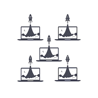 Vetor de impulsionador de foguete portátil notebook definir coleção