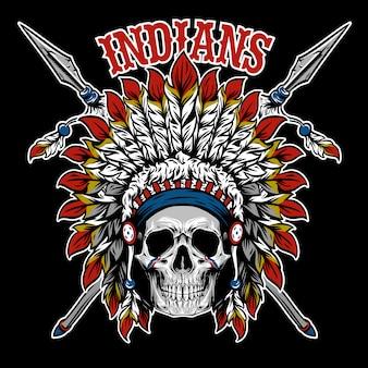 Vetor de índio crânio guerreiro emblema