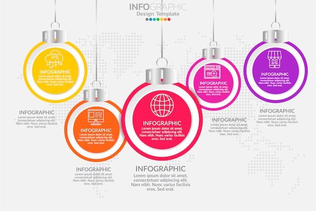 Vetor de infográfico de cronograma de cinco etapas