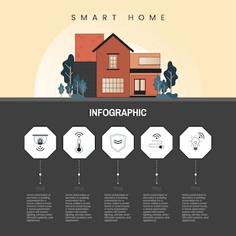 Vetor de infográfico de tecnologia para casa inteligente