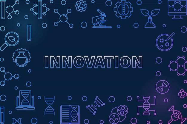 Vetor de inovação conceito genético contorno colorido horizontal ilustração em fundo escuro