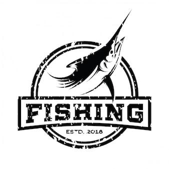 Vetor de inspiração de design de logotipo retrô de atum