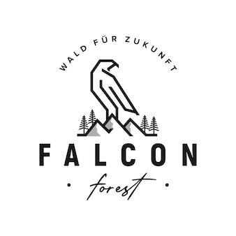 Vetor de inspiração de projeto de logotipo de empresa de finanças de floresta de pinheiros de floresta de falcon