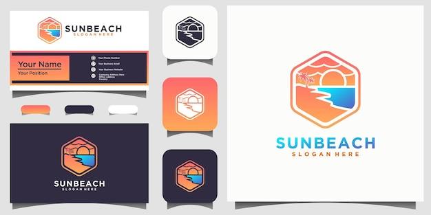 Vetor de inspiração do design de logotipo do oceano sol