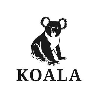 Vetor de inspiração do logotipo da silhueta do coala, mascote da austrália