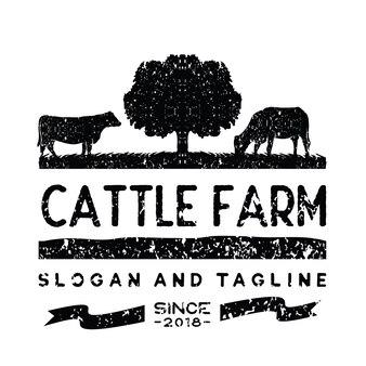 Vetor de inspiração vintage gado / carne logo design