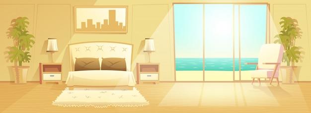 Vetor de interior dos desenhos animados de quarto de hotel resort de luxo