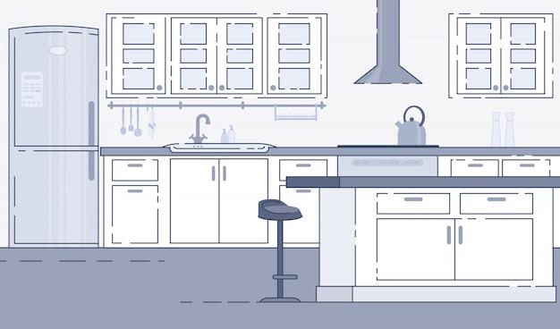 Vetor de interior espaçoso de cozinha moderna