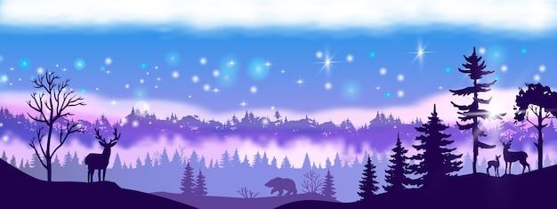 Vetor de inverno paisagem de natal com contorno de floresta