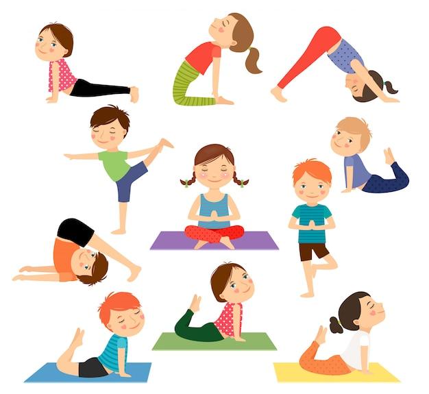 Vetor de ioga de crianças