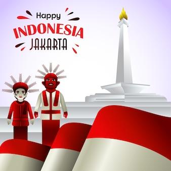 Vetor de jakarta feliz dia da indonésia