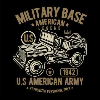 Vetor de jipe exército americano base militar