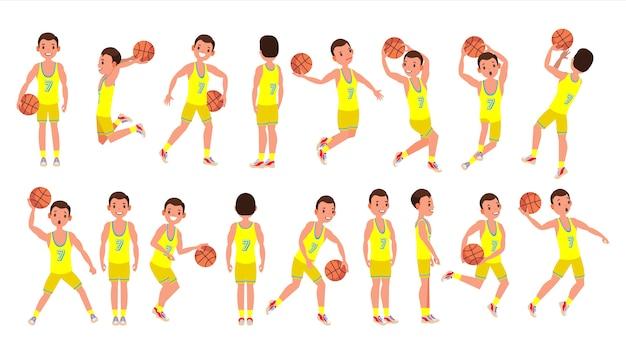 Vetor de jogador masculino de basquete. uniforme amarelo. jogando com uma bola. estilo de vida saudável. etiquetas de ação de equipe. personagem de desenho animado