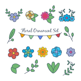 Vetor de kawaii bonito conjunto de desenhos animados de flor de primavera
