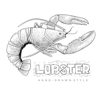 Vetor de lagosta com estilo desenhado à mão, ilustração animal realista