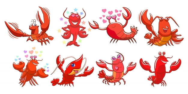 Vetor de lagosta definir projeto de clipart