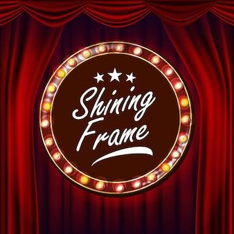 Vetor de lâmpadas de quadro de ouro. fundo vermelho. cortina de teatro. seda têxtil. bandeira retro brilhante de luz. ilustração retro realista