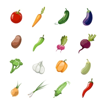 Vetor de legumes dos desenhos animados. conjunto de ícones vegetais no estilo de cor, ilustração de vegetab vegetariana