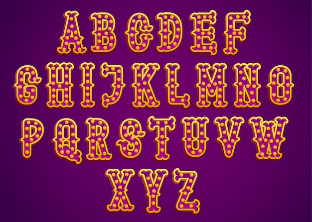 Vetor de letras brilhantes douradas circo vintage typeset