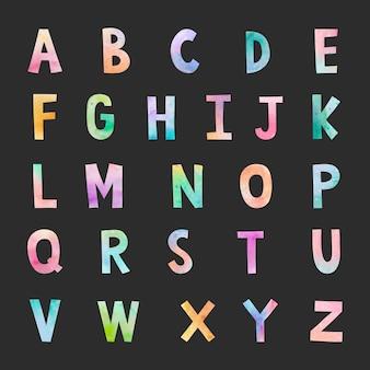 Vetor de letras conjunto aquarela abc