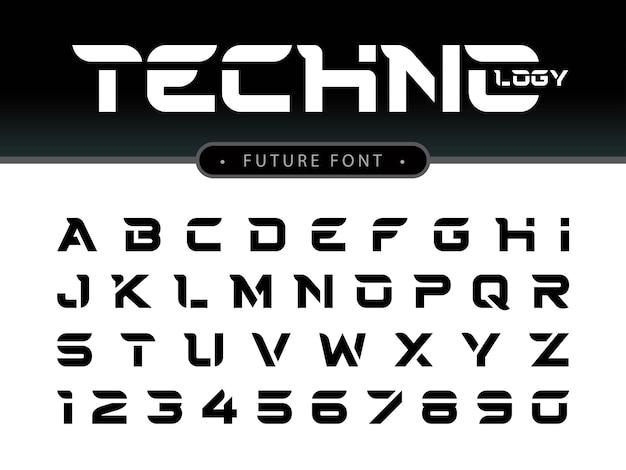 Vetor de letras do alfabeto futurista e números