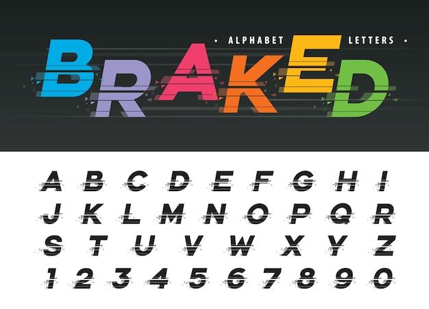Vetor de letras do alfabeto moderno de falha
