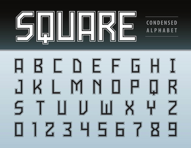 Vetor de letras do alfabeto quadrado moderno e números, tecnologia de fonte geométrica