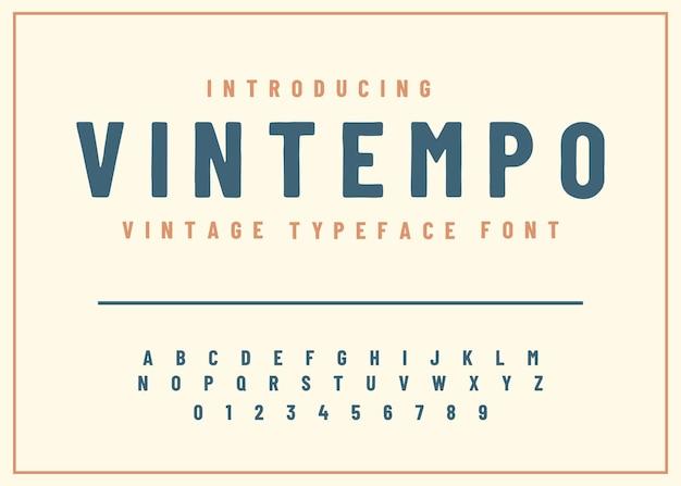 Vetor de letras e números do alfabeto de fontes estilo retro vintage