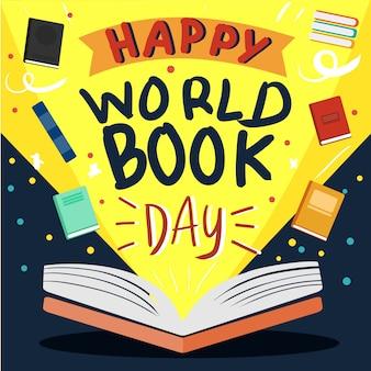Vetor de livro aberto para cartaz de dia de livro do mundo