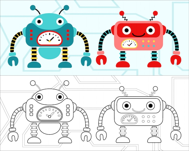 Vetor de livro de colorir com bom desenho animado de robôs