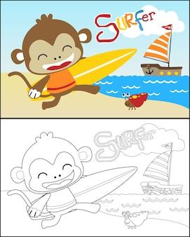 Vetor de livro de colorir com desenho de macaco pequeno