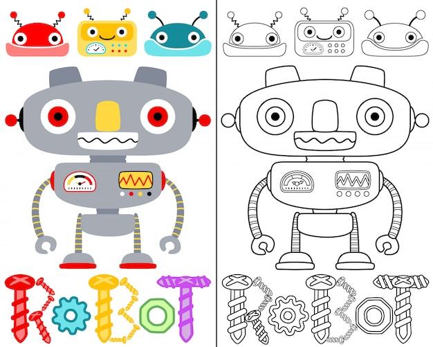 Vetor de livro de colorir com desenhos animados de robôs