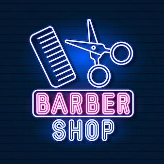 Vetor de logo neon sign barber shop para seu projeto.