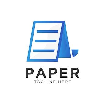 Vetor de logotipo abstrato de papel de página Vetor Premium