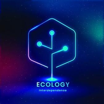 Vetor de logotipo ambiental com texto de ecologia