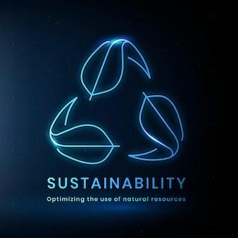 Vetor de logotipo ambiental de sustentabilidade com texto