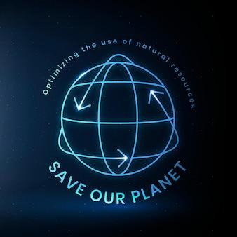 Vetor de logotipo ambiental global com texto para salvar nosso planeta
