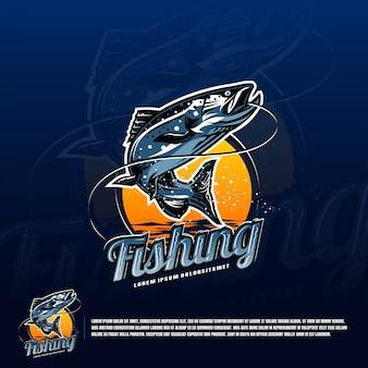 Vetor de logotipo azul de pesca