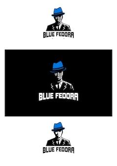 Vetor de logotipo azul mascote fedora