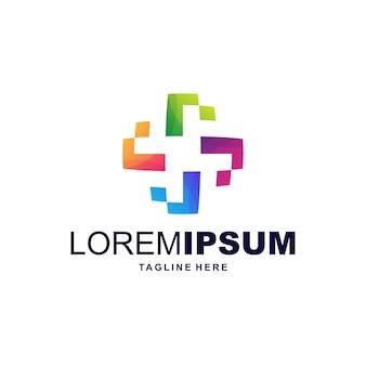 Vetor de logotipo colorido saudável digital