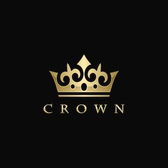 Vetor de logotipo coroa dourada
