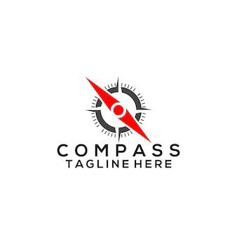Vetor de logotipo da bússola. modelo de logotipo compass Vetor Premium