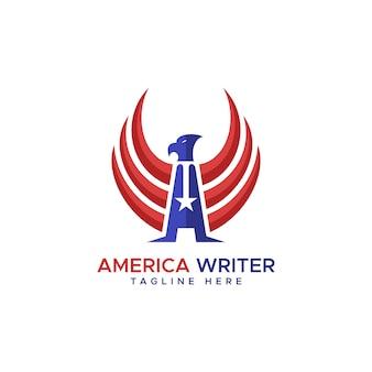 Vetor de logotipo de águia de escritor américa