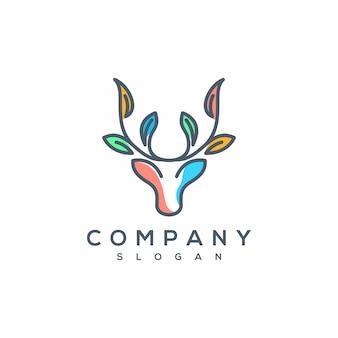 Vetor de logotipo de arte de linha de veado