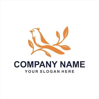 Vetor de logotipo de aves laranja