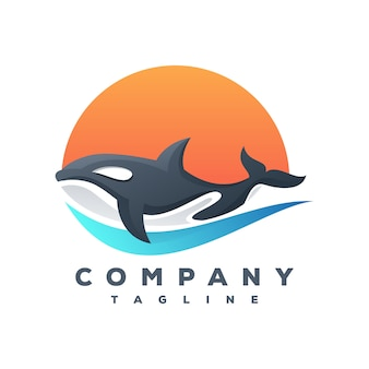 Vetor de logotipo de baleia assassina