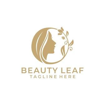 Vetor de logotipo de beleza luxuosa com folha