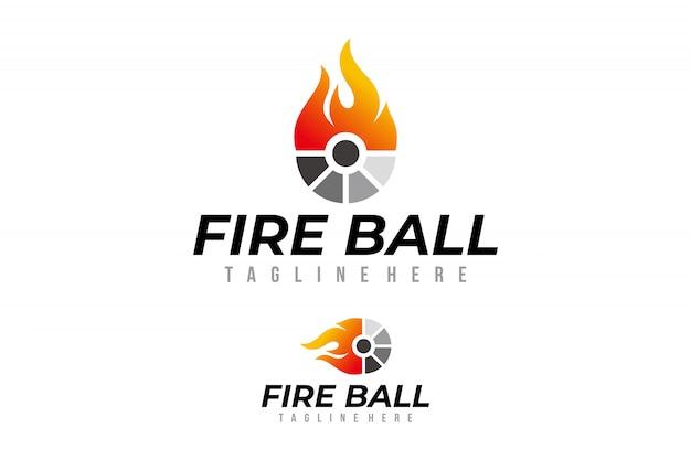 Vetor de logotipo de bola de fogo isolado