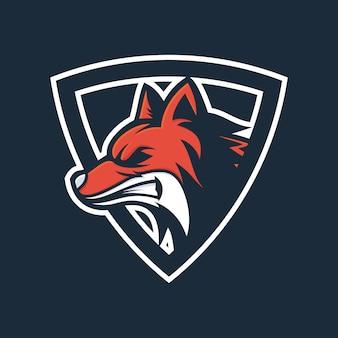 Vetor de logotipo de cabeça de raposa irritada