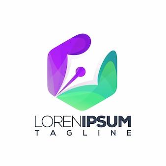 Vetor de logotipo de caneta